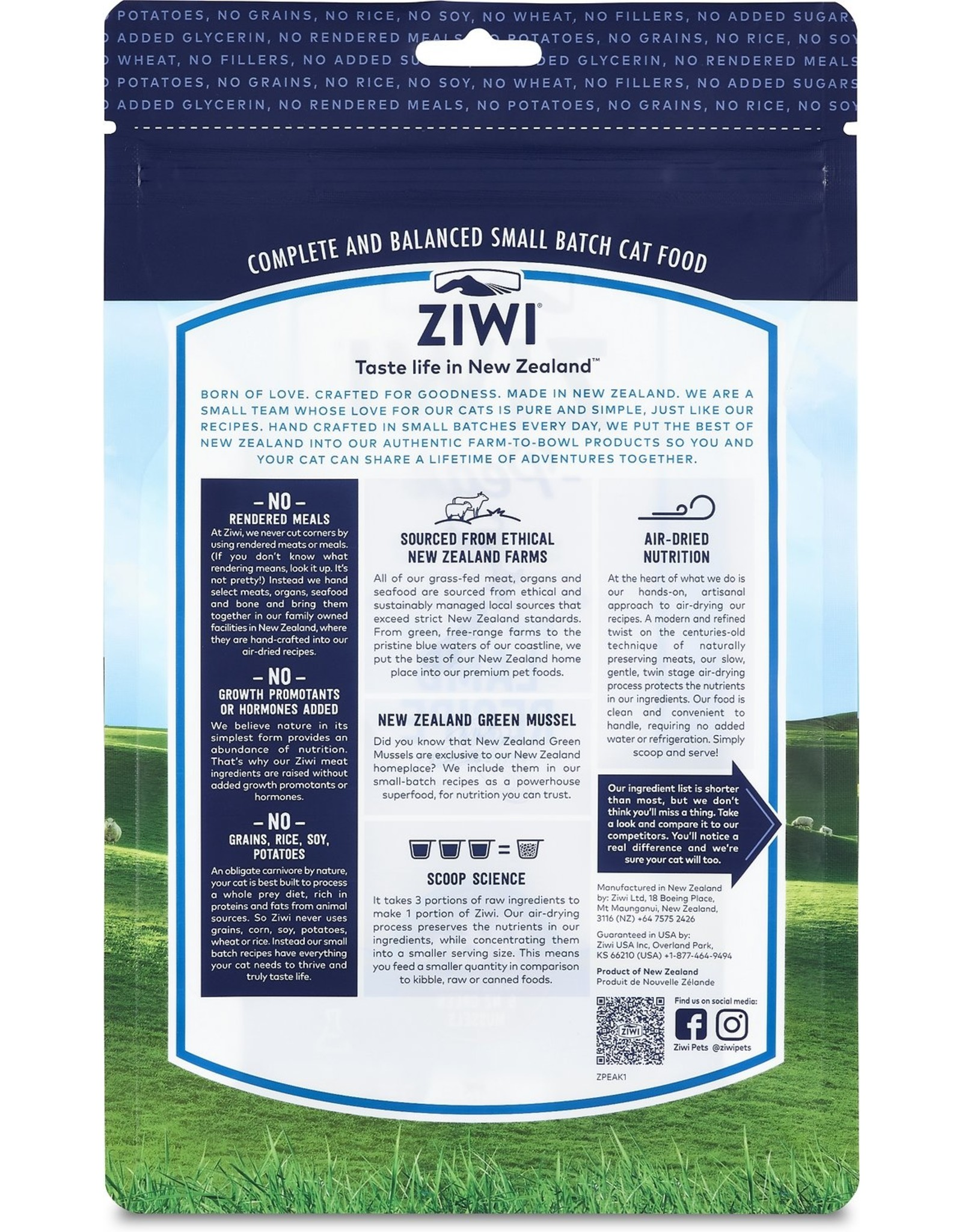 Ziwi Peak ZIWI PEAK CAT GENTLY AIR-DRIED NEW ZEALAND LAMB RECIPE