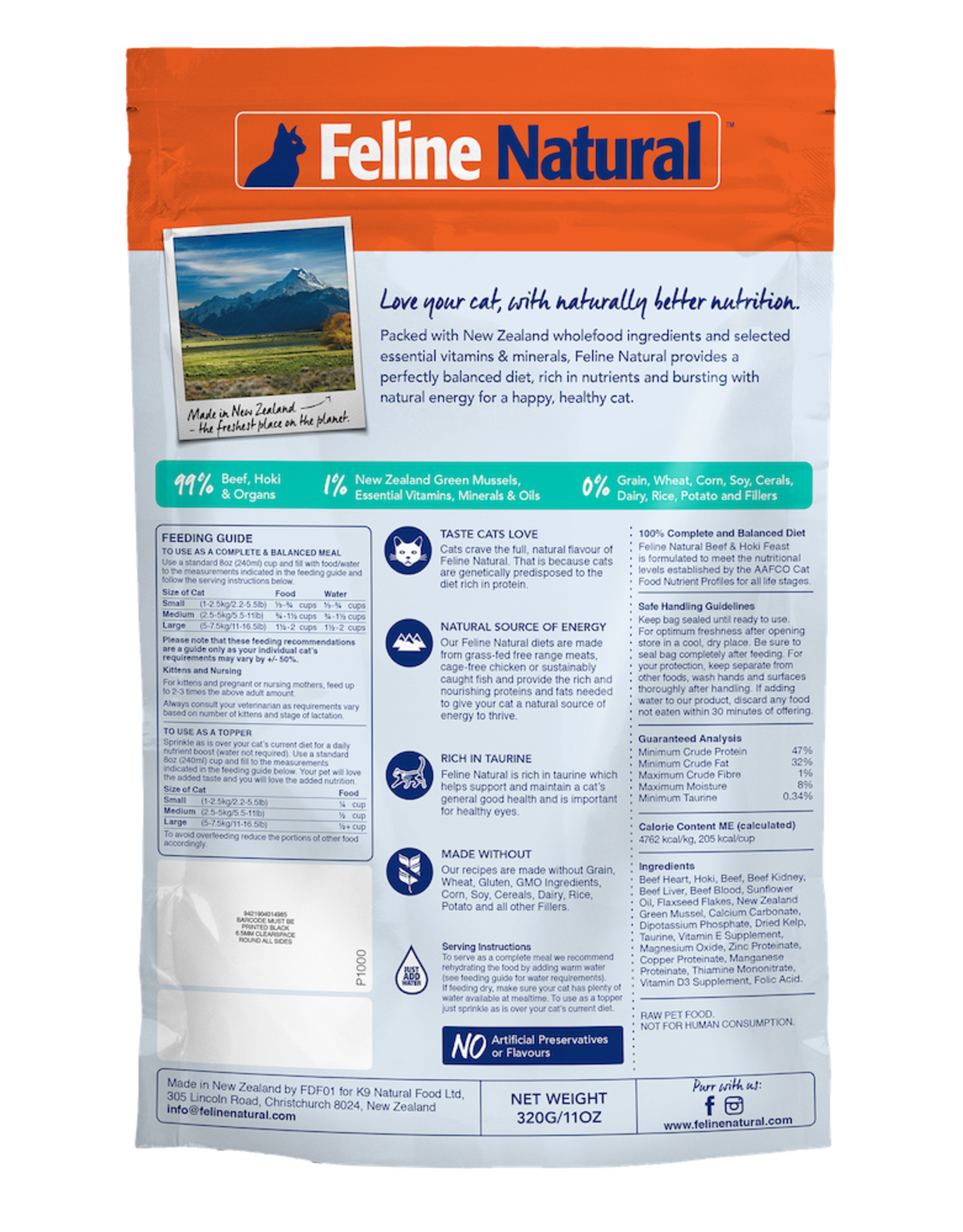 K9 Natural FELINE NATURAL BEEF & HOKI FEAST FREEZE DRIED CAT FOOD