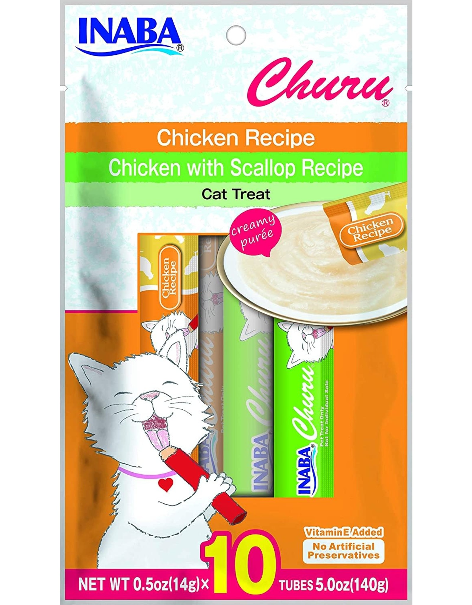 Inaba INABA CAT CHURU PURÉE CHICKEN & CHICKEN WITH SCALLOP RECIPE 10-COUNT
