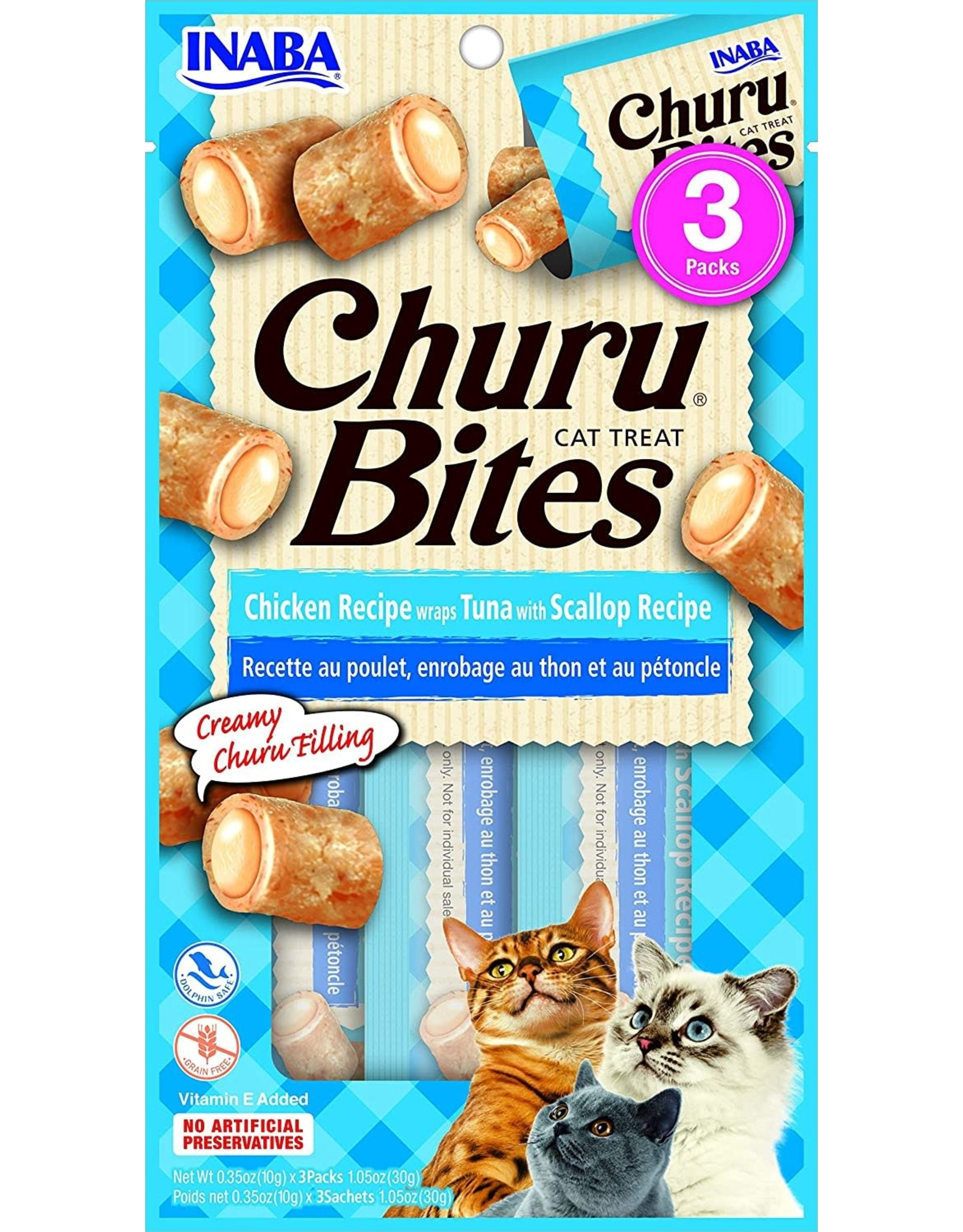 Inaba INABA CAT CHURU BITES CHICKEN RECIPE WRAPS TUNA WITH SCALLOP RECIPE 3-COUNT