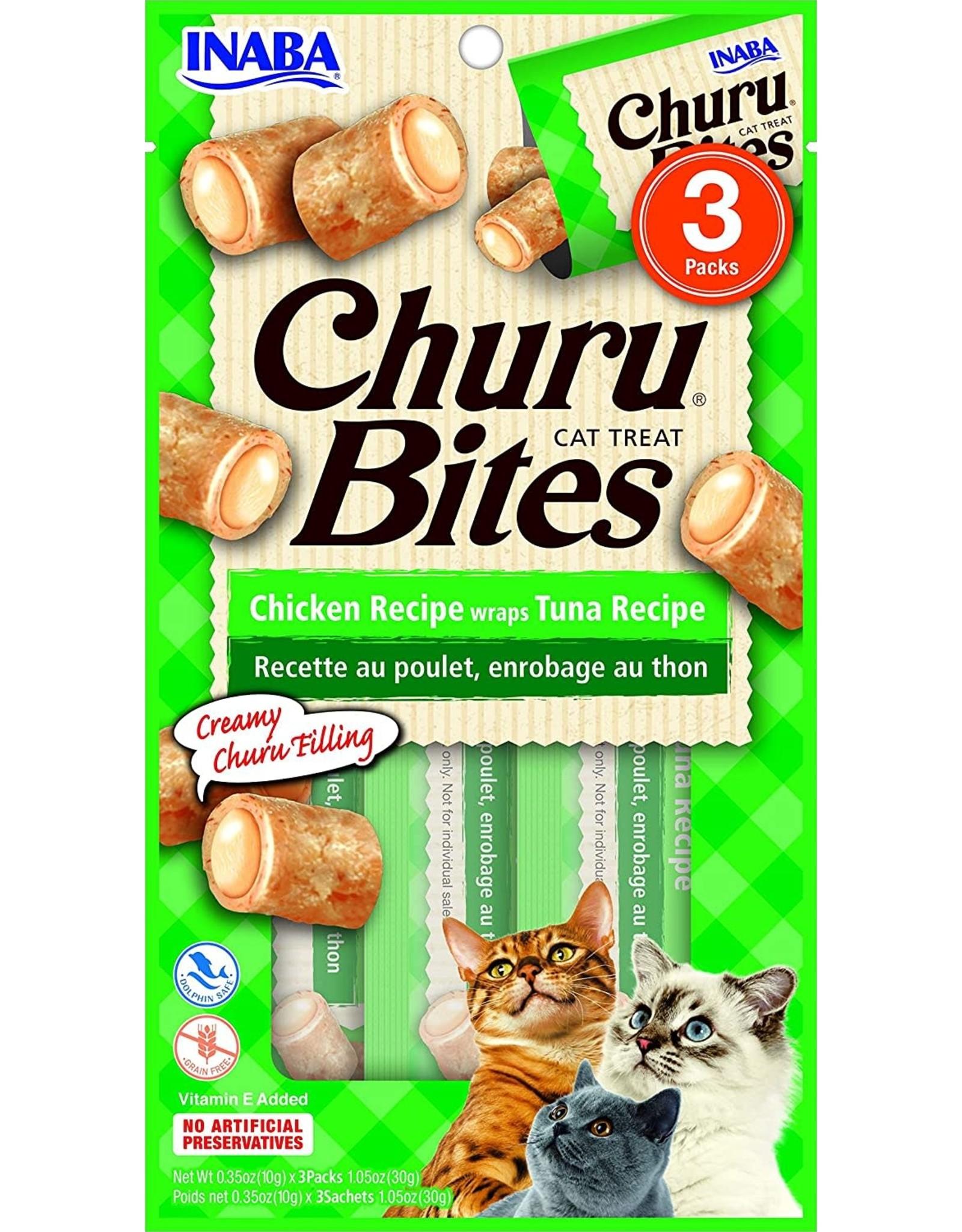Inaba INABA CAT CHURU BITES CHICKEN RECIPE WRAPS TUNA RECIPE 3-COUNT