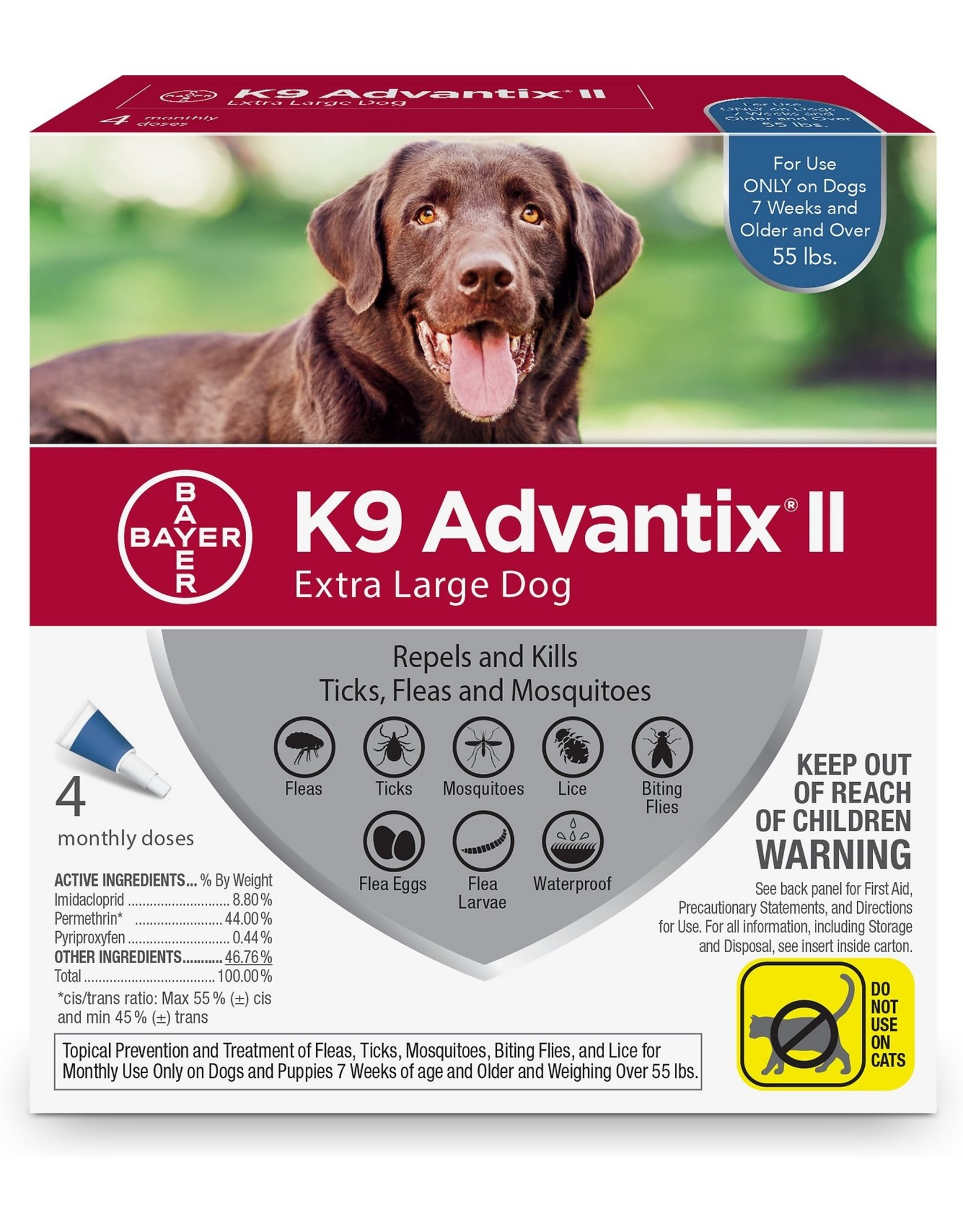 Bayer BAYER ADVANTIX II FOR DOGS FLEA & TICK TOPICAL SOLUTION 4 DOSES