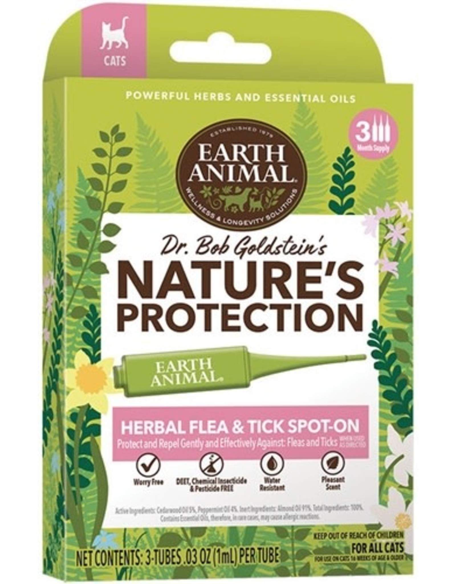 Earth Animal EARTH ANIMAL NATURE'S PROTECTION HERBAL FLEA & TICK SPOT-ON FOR CATS 3 DOSES