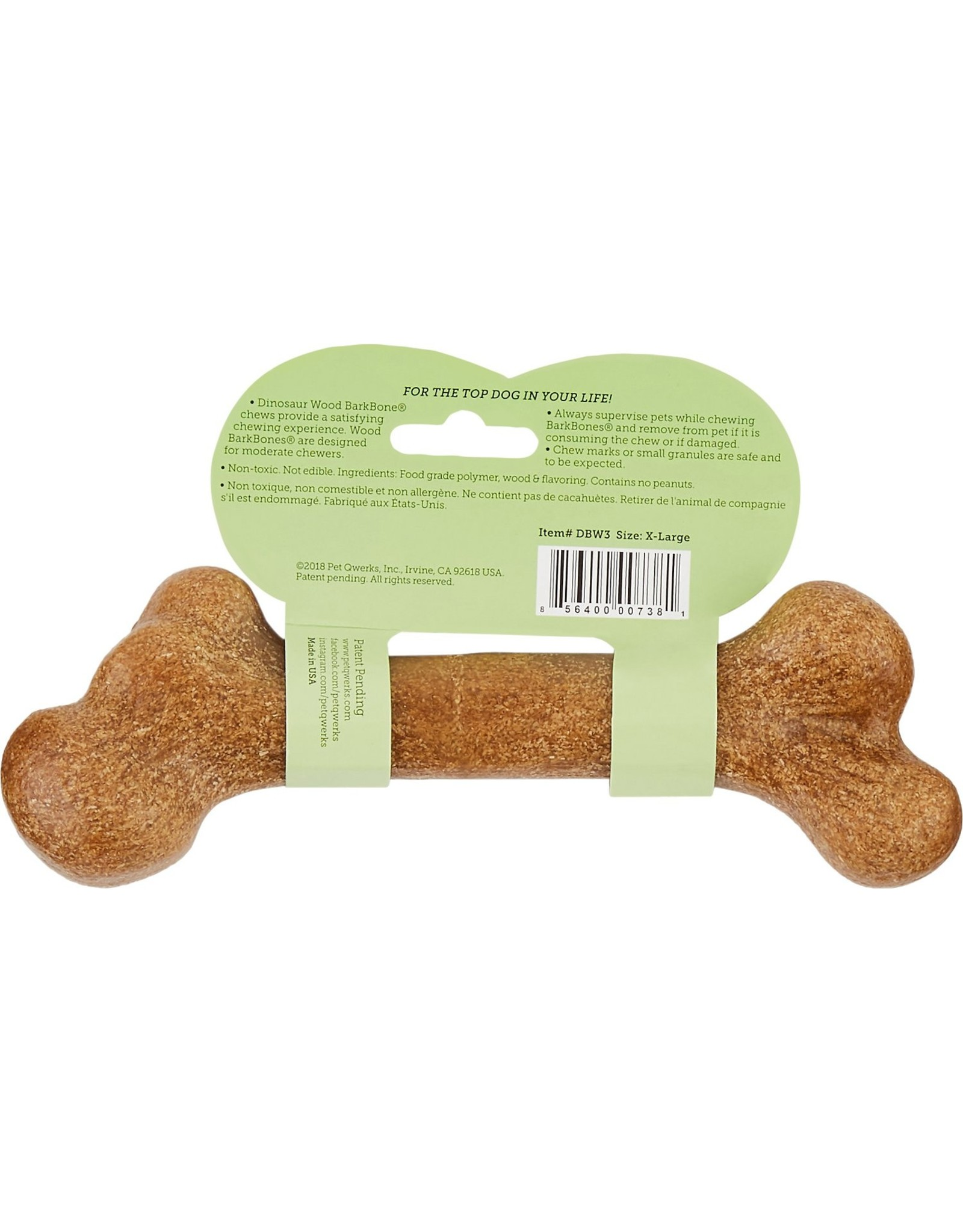 Pet Qwerks PET QWERKS WOOD & PEANUT BUTTER DINOSAUR BARKBONE CHEW TOY