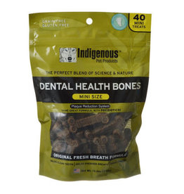 Indigenous Pet Products INDIGENOUS DENTAL HEALTH BONES MINI SIZE ORIGINAL FRESH BREATH FLAVOR 40-COUNT