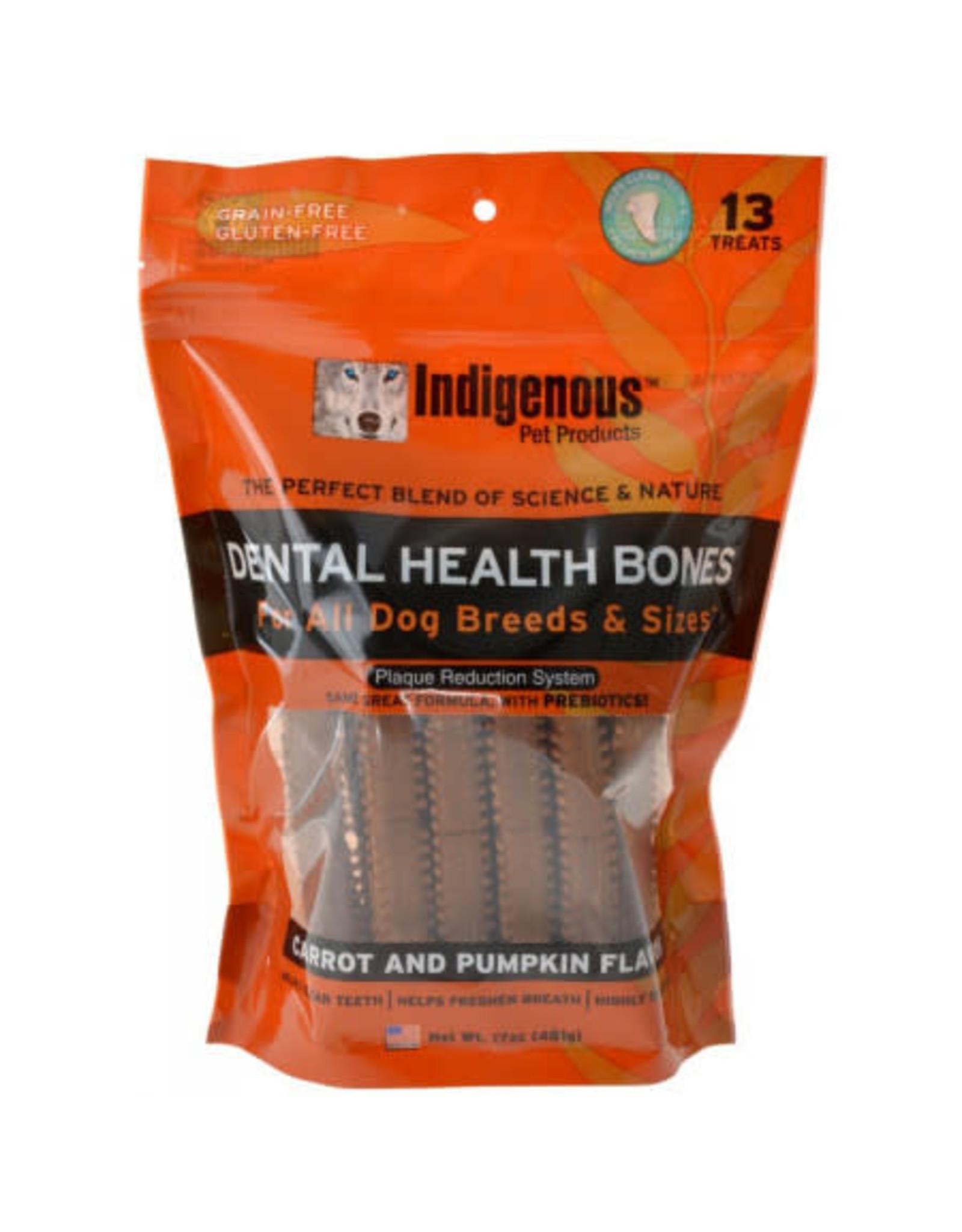 Indigenous Pet Products INDIGENOUS DENTAL HEALTH BONES CARROT AND PUMPKIN FLAVOR 13-COUNT