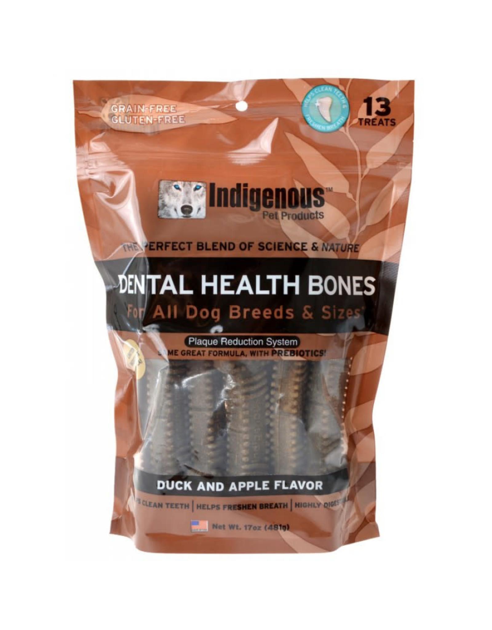 Indigenous Pet Products INDIGENOUS DENTAL HEALTH BONES DUCK & APPLE FLAVOR 13-COUNT