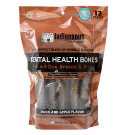 Indigenous Pet Products INDIGENOUS DENTAL HEALTH BONES DUCK & APPLE FLAVOR 13-COUNT