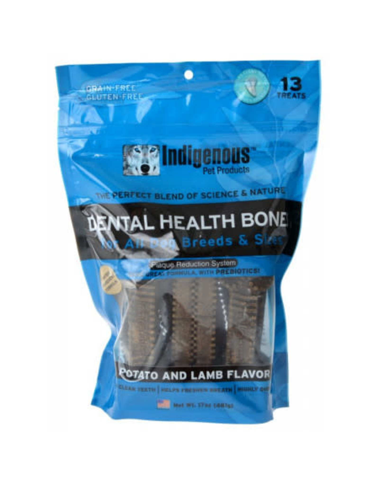 Indigenous Pet Products INDIGENOUS DENTAL HEALTH BONES POTATO & LAMB FLAVOR 13-COUNT