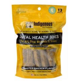 Indigenous Pet Products INDIGENOUS DENTAL HEALTH BONES ROASTED CHICKEN FLAVOR 13-COUNT