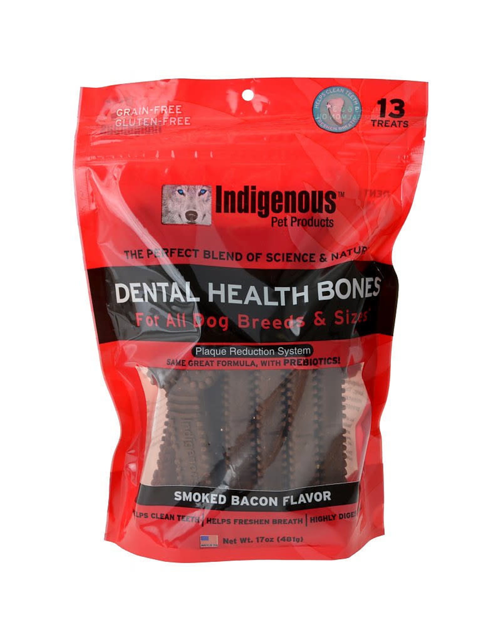 Indigenous Pet Products INDIGENOUS DENTAL HEALTH BONES SMOKED BACON FLAVOR 13-COUNT
