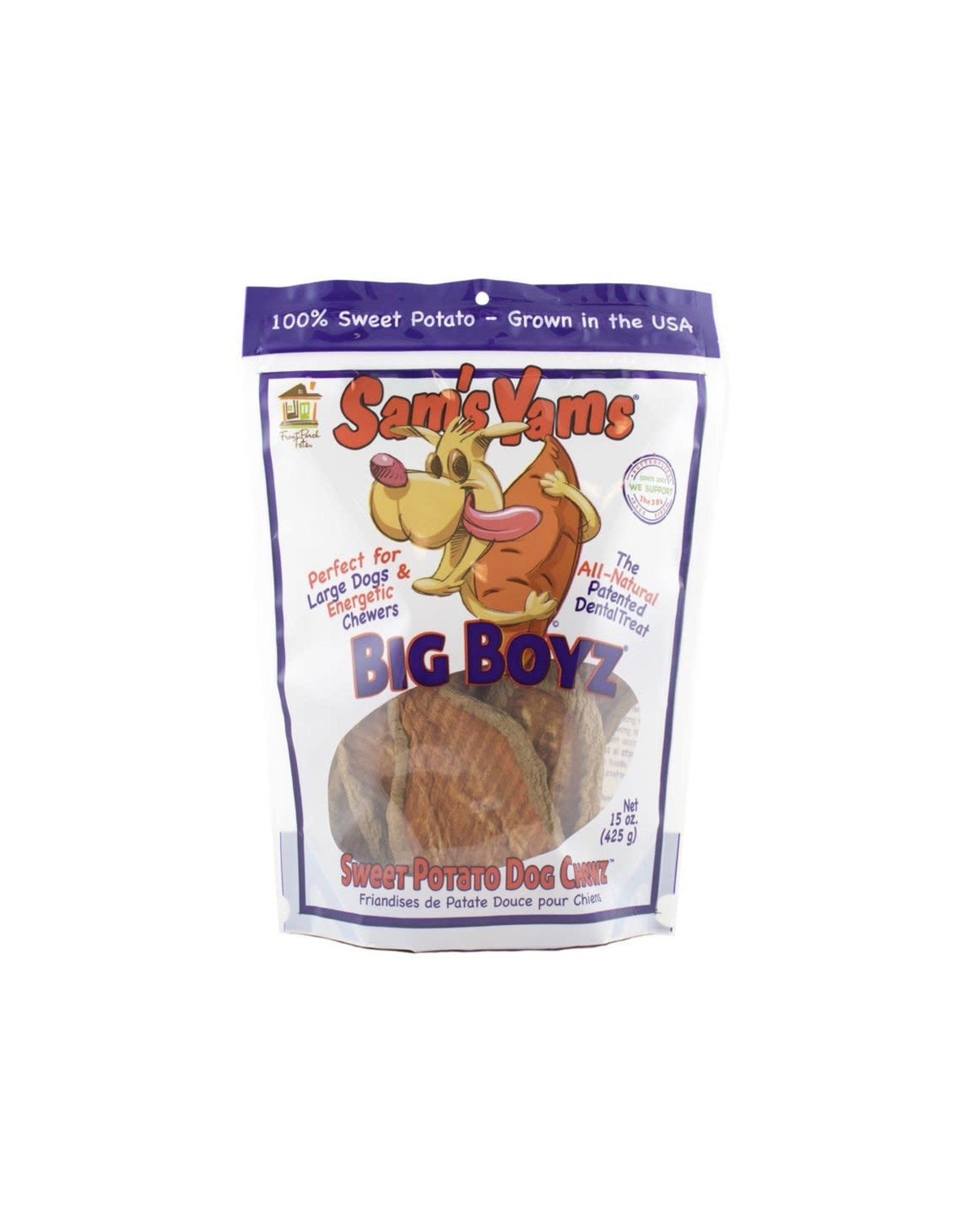 Front Porch Pets SAM'S YAMS BIG BOYZ SWEET POTATO DOG CHEWZ 15OZ
