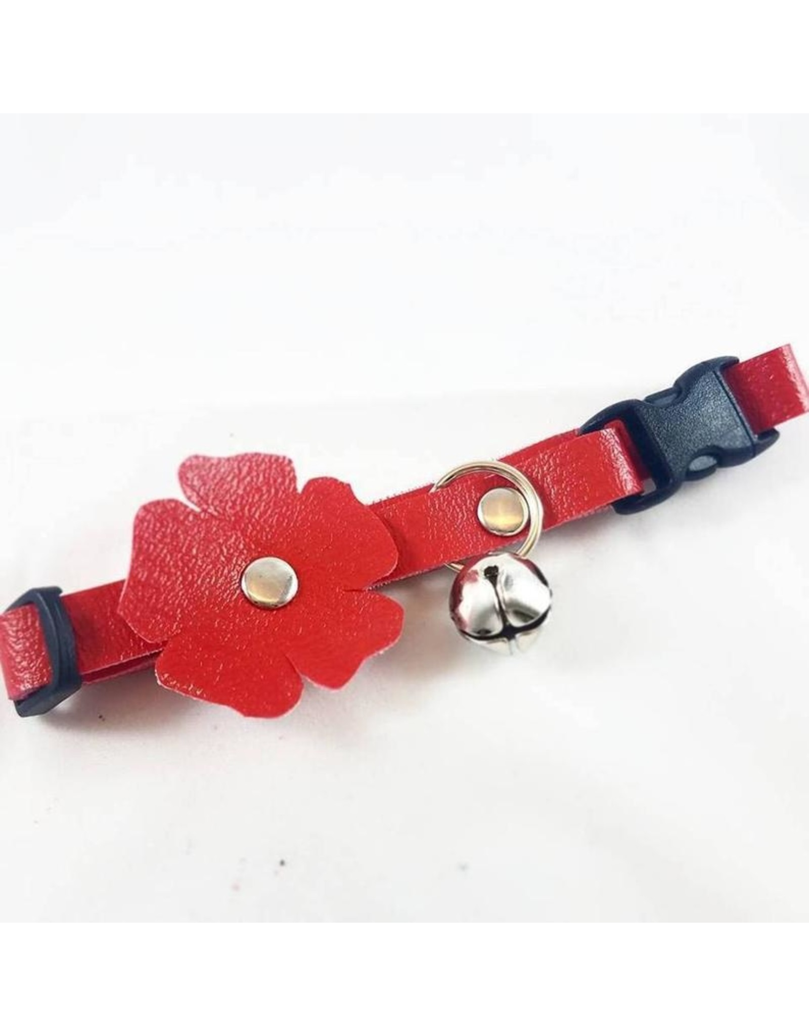 """Fancy Leathers FANCY LEATHERS VEGAN LEATHER CAT COLLAR WITH FLOWER 8""""-12"""""""