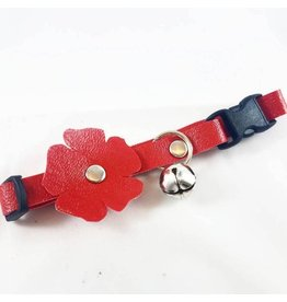 "Fancy Leathers FANCY LEATHERS VEGAN LEATHER CAT COLLAR WITH FLOWER 8""-12"""