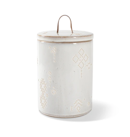 Pet Shop by Fringe Studio FRINGE STUDIO TRIBAL MARKS WHITE STONEWARE TREAT JAR