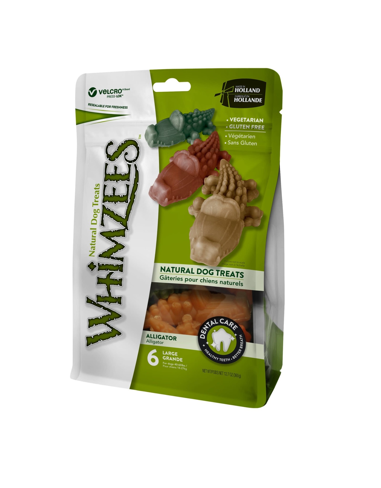 Whimzees WHIMZEES DENTAL TREATS ALLIGATOR LARGE 6-COUNT BAG