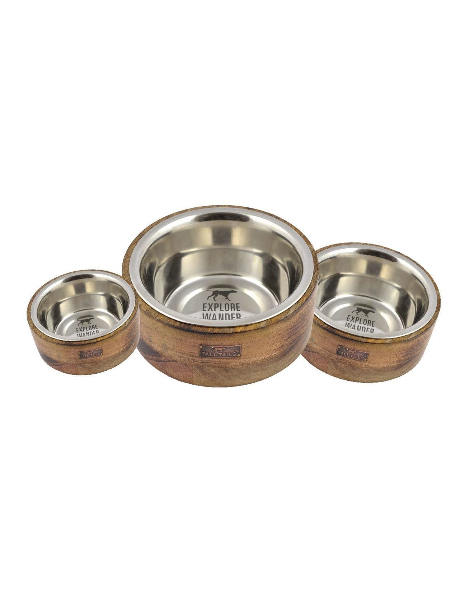 Tall Tails TALL TAILS DESIGNER BOWL STAINLESS STEEL & WOOD COMBO