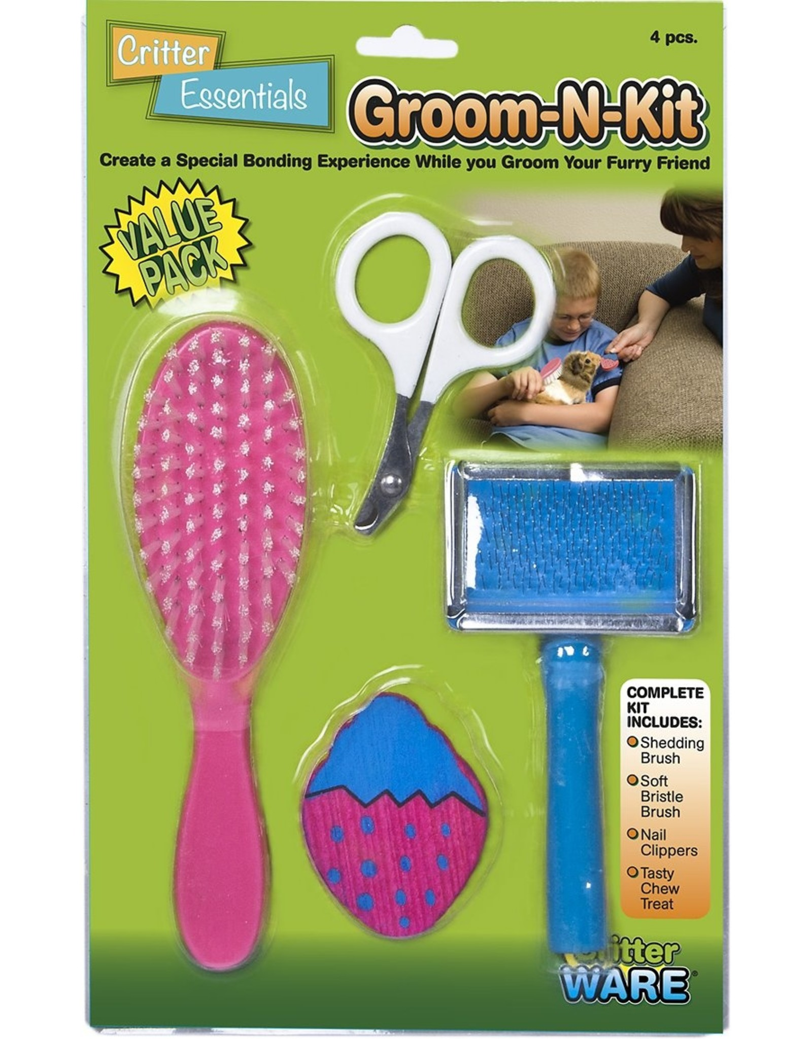 Ware Manufacturing WARE CRITTER ESSENTIALS 4-PIECE GROOM-N-KIT FOR SMALL ANIMALS