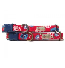 Very Vintage Designs VERY VINTAGE FIORI ROSSI ORGANIC COTTON DOG COLLAR
