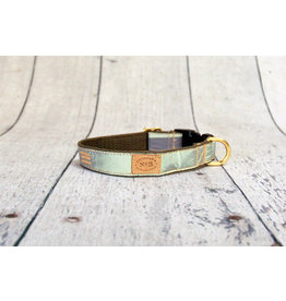 Bella Bean Couture FINNEGAN'S STANDARD GOODS OLIVE REFLECTIVE DOG COLLAR