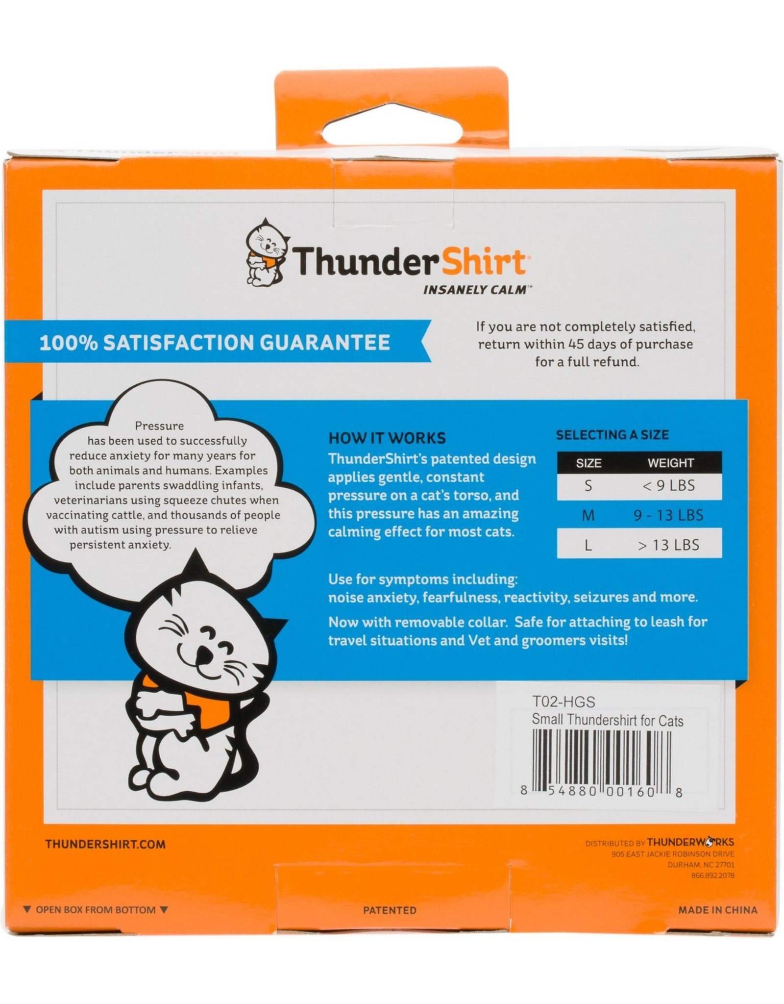 Thunderworks Inc. THUNDERSHIRT CLASSIC ANXIETY JACKET FOR CATS GREY MEDIUM