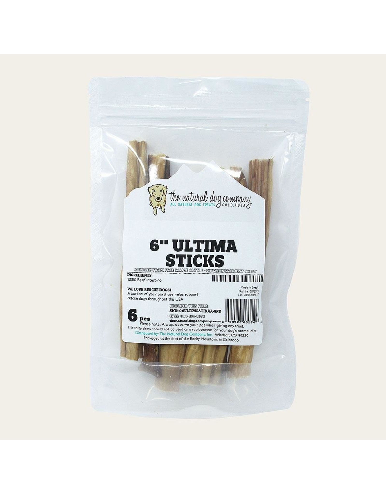"The Natural Dog Company THE NATURAL DOG COMPANY 6"" ULTIMA STICKS 6OZ"