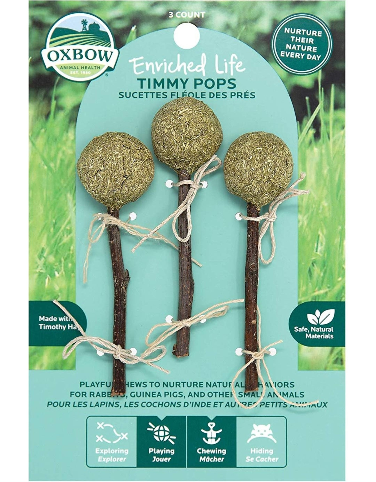 Oxbow Animal Health OXBOW ENRICHED LIFE TIMMY POPS SMALL ANIMAL CHEW TOY 3-COUNT