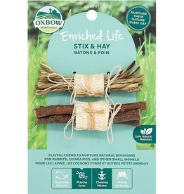 Oxbow Animal Health OXBOW ENRICHED LIFE STIX & HAY SMALL ANIMAL CHEW TOY 2-COUNT