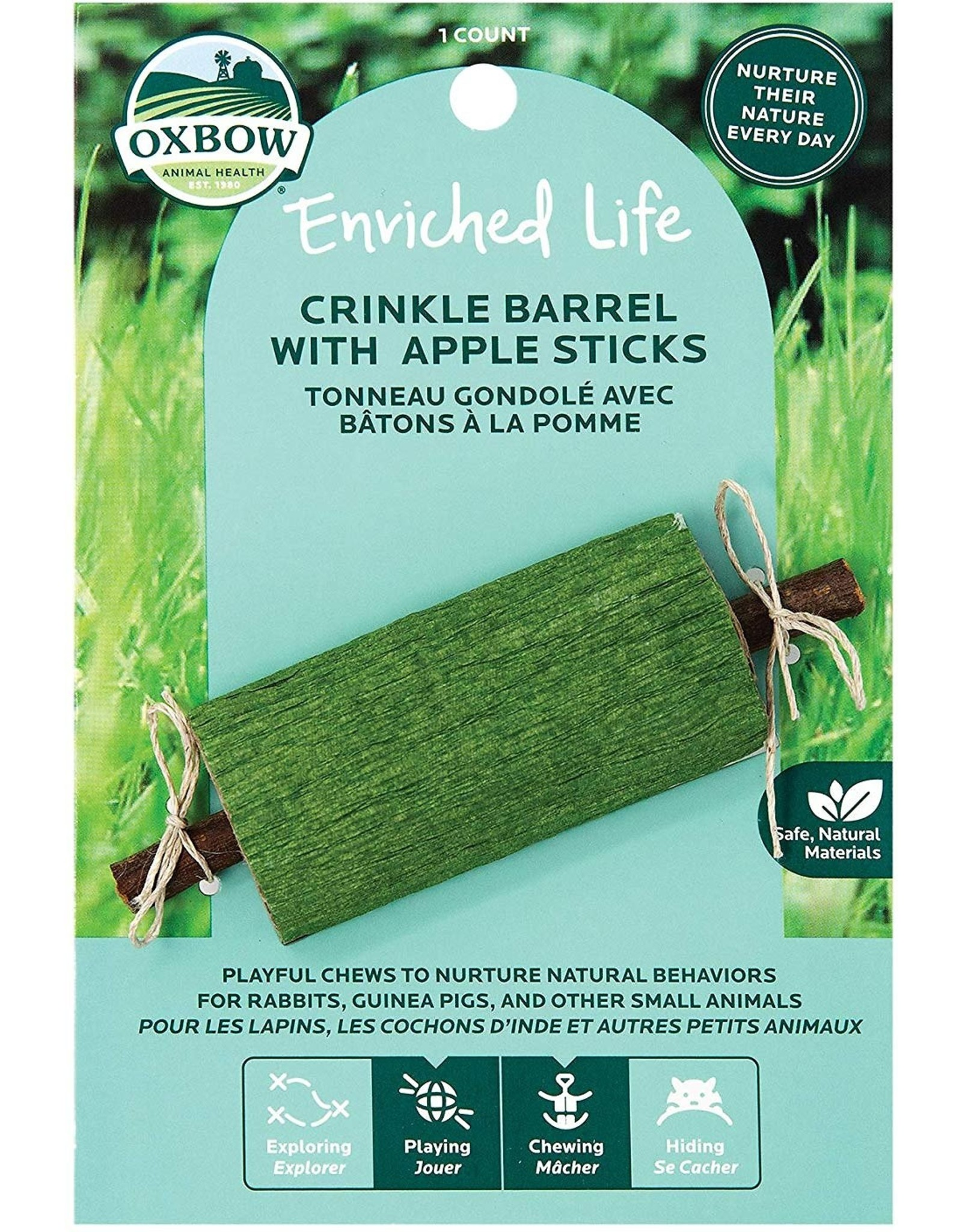 Oxbow Animal Health OXBOW ENRICHED LIFE CRINKLE BARREL SMALL ANIMAL TOY WITH APPLE STICKS