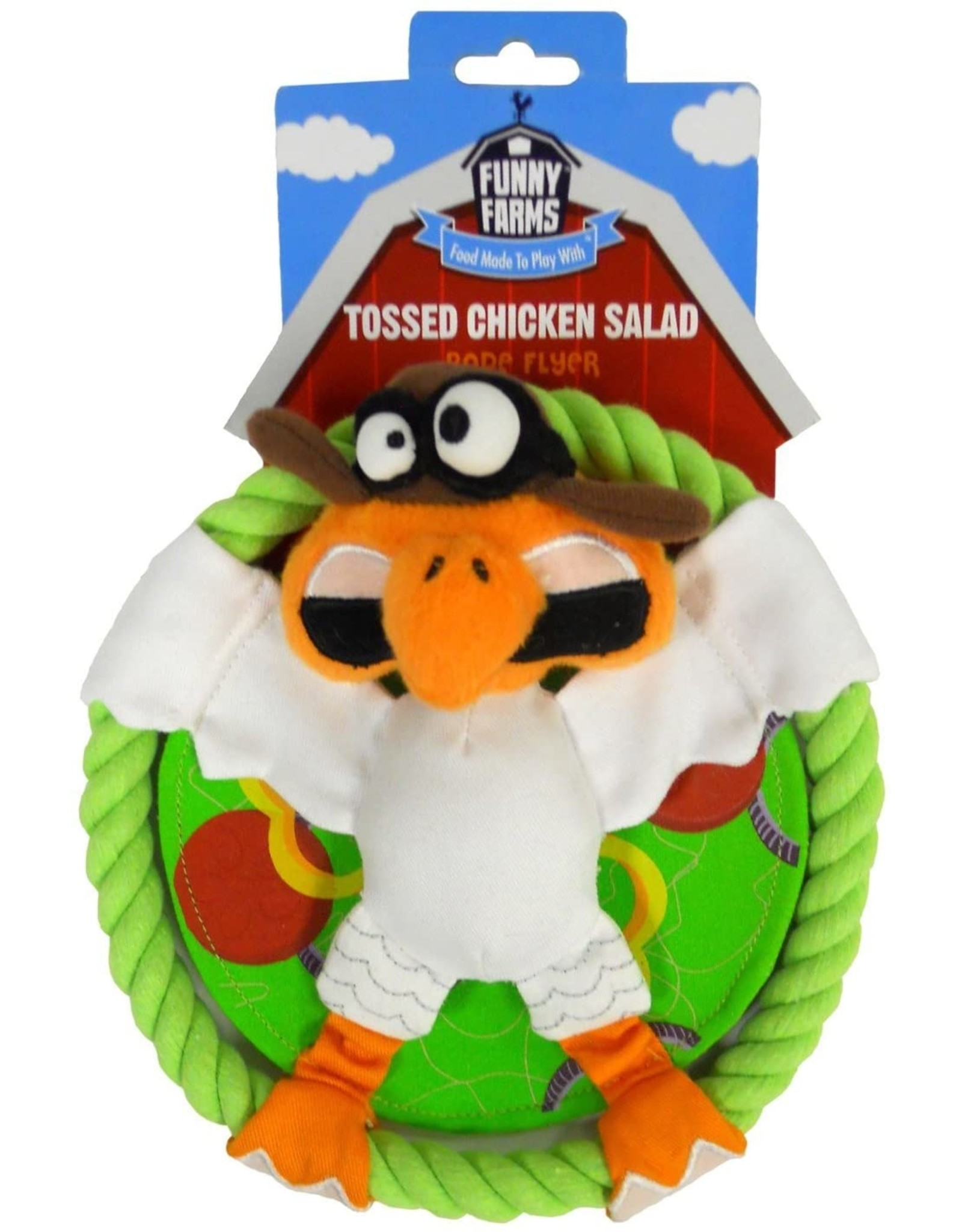 R2P Pet FUNNY FARMS TOSSED CHICKEN SALAD DOG TOY