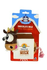R2P Pet FUNNY FARMS MILK CARTON WITH ROPE DOG TOY