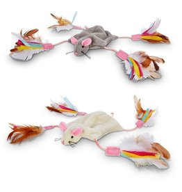 PETLINKS PETLINKS CUTIE MOUSE CRINKLE TOY WITH FEATHERS