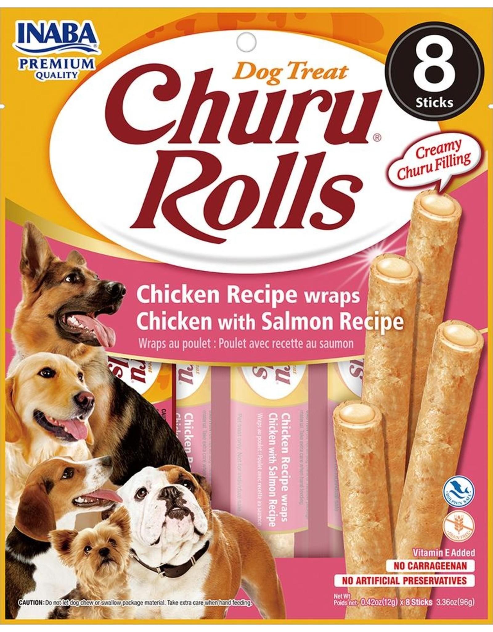 Inaba INABA DOG CHURU ROLLS CHICKEN RECIPE WRAPS CHICKEN WITH CHEESE RECIPE 8-COUNT