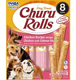 Inaba INABA DOG CHURU ROLLS CHICKEN RECIPE WRAPS CHICKEN WITH CHEESE RECIPE 8-COUNT