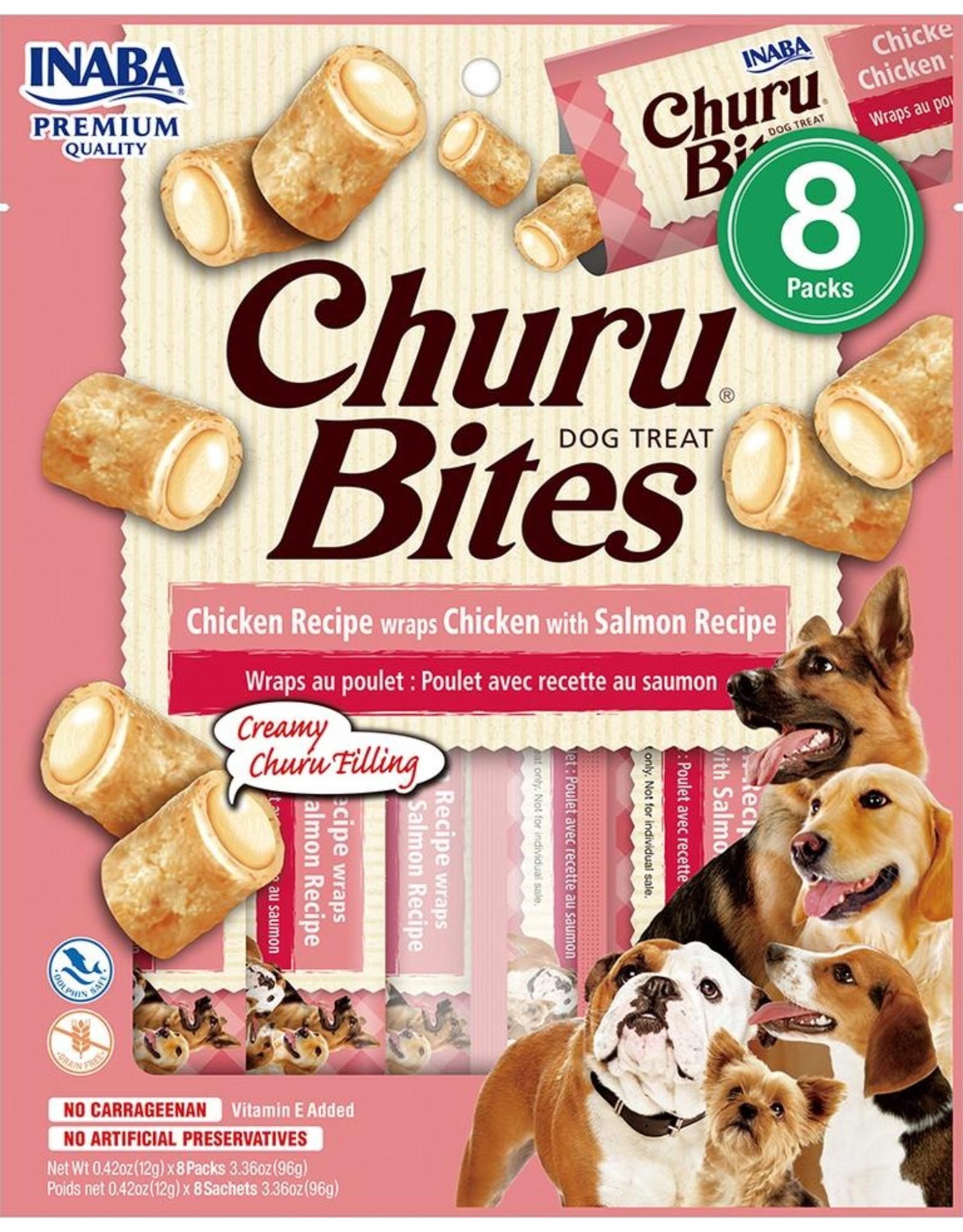 Inaba INABA DOG CHURU BITES CHICKEN RECIPE WRAPS CHICKEN WITH SALMON RECIPE 8-COUNT