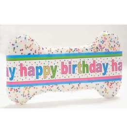 Woofables Bakery WOOFABLES BAKERY DIPPED BIRTHDAY BONE COOKIE WITH CANDLE & STICKER