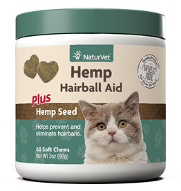 NaturVet NATURVET HAIRBALL AID PLUS HEMP SEED SOFT CHEWS FOR CATS 60-COUNT