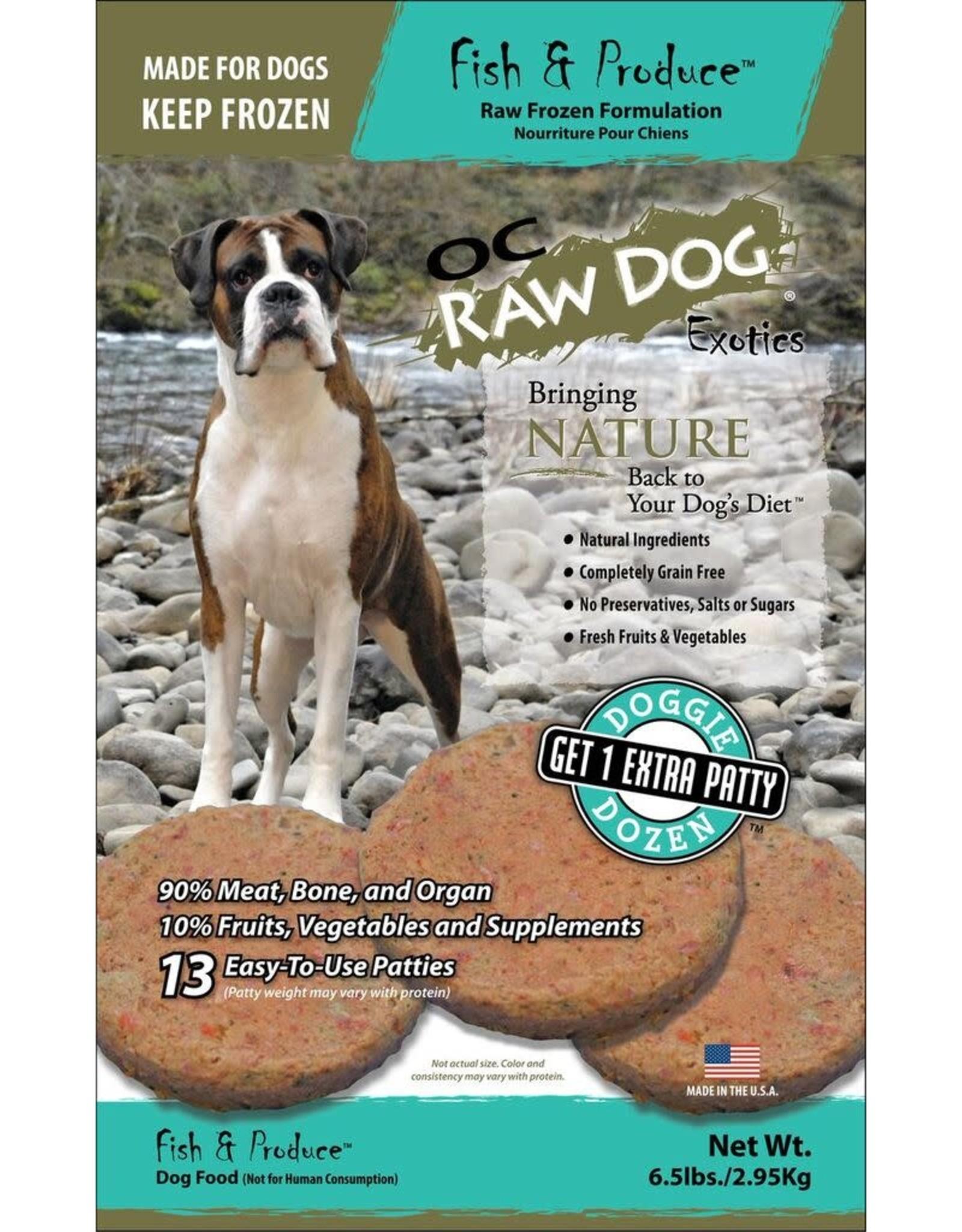 OC Raw Dog OC RAW DOG FROZEN RAW PATTIES FISH & PRODUCE