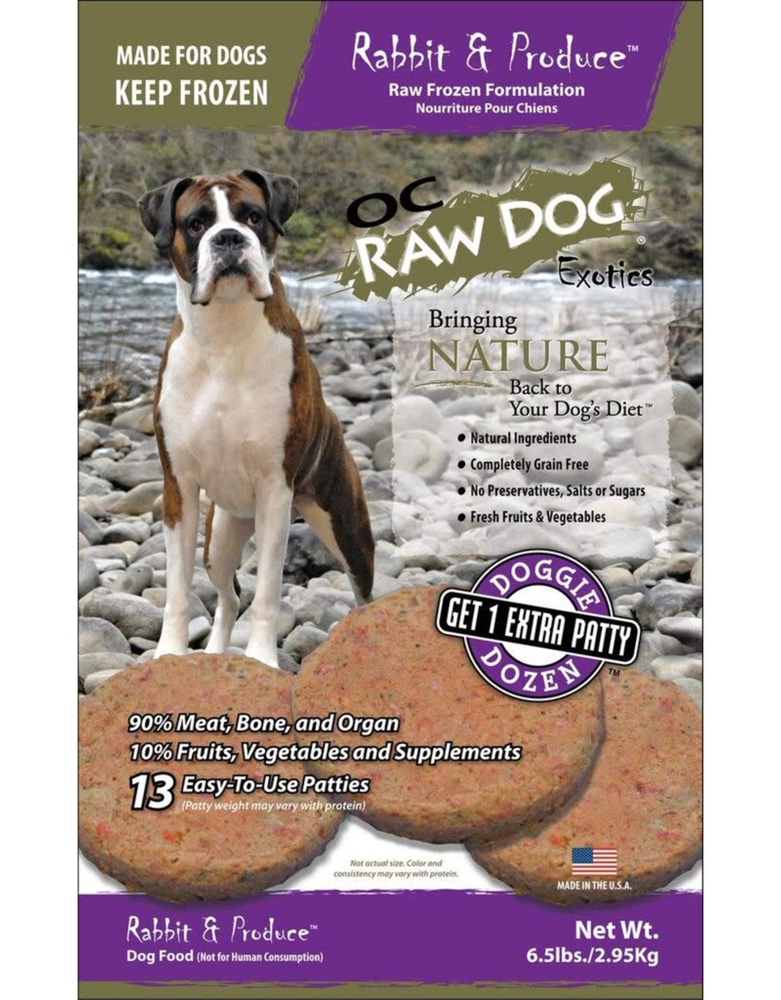 OC Raw Dog OC RAW DOG FROZEN RAW MEATY ROX RABBIT & PRODUCE