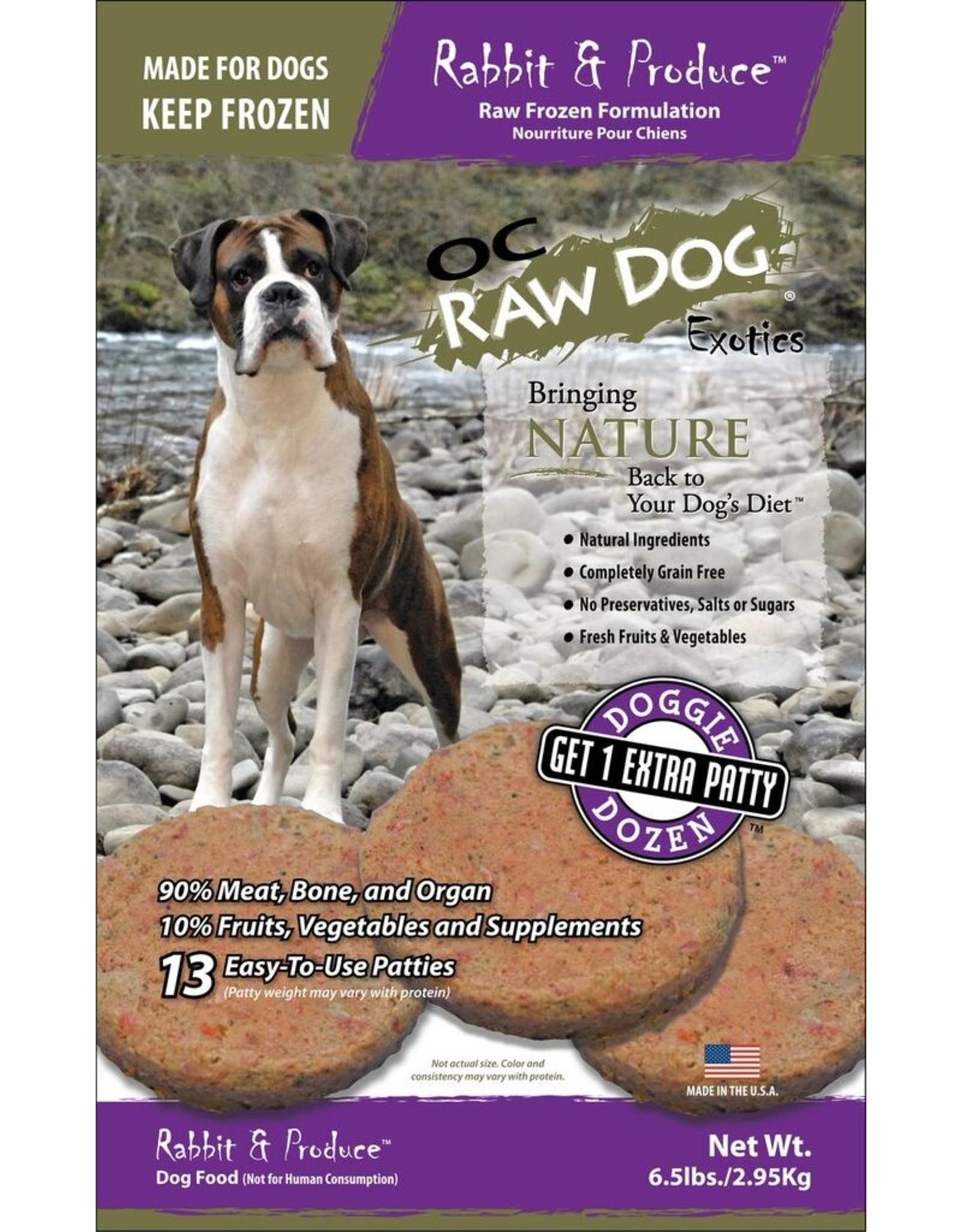 OC Raw Dog OC RAW DOG FROZEN RAW PATTIES RABBIT & PRODUCE