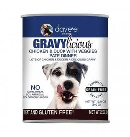 Dave's Pet Food DAVE'S DOG GF GRAVYLICIOUS CHICKEN & DUCK WITH VEGGIES PATE DINNER 12OZ