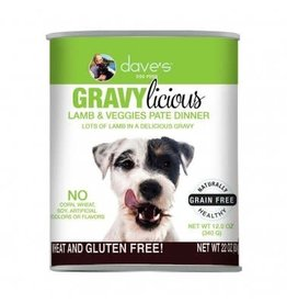 Dave's Pet Food DAVE'S DOG GF GRAVYLICIOUS LAMB & VEGGIES PATE DINNER 12OZ