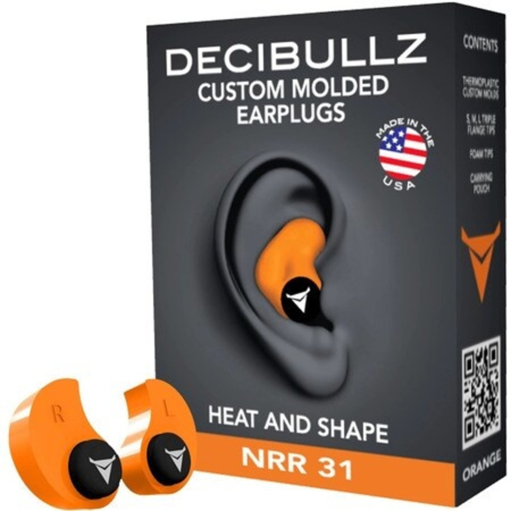DECIBULLZ CUSTOM MOLDED EAR PLUGS PLG1-ORG