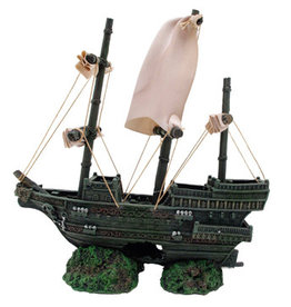 MARINA Marina Sunken Ship with Fabric Sails and Rope 9in x 5.5in x 10.25in (23 x 14 x 26 cm)