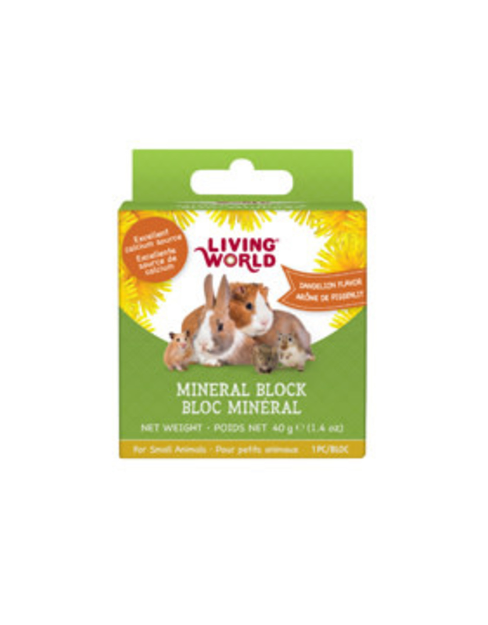 LIVING WORLD Living World Small Animal Mineral Blocks - Dandelion Flavour - Small - 40 g (1.4 oz)