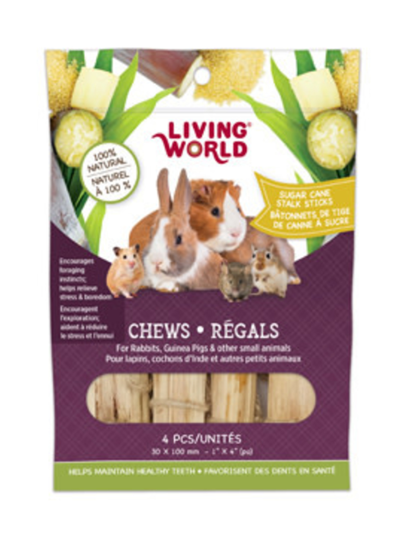 LIVING WORLD Living World Small Animal Chews - Sugarcane Stalk Sticks - 4 pieces