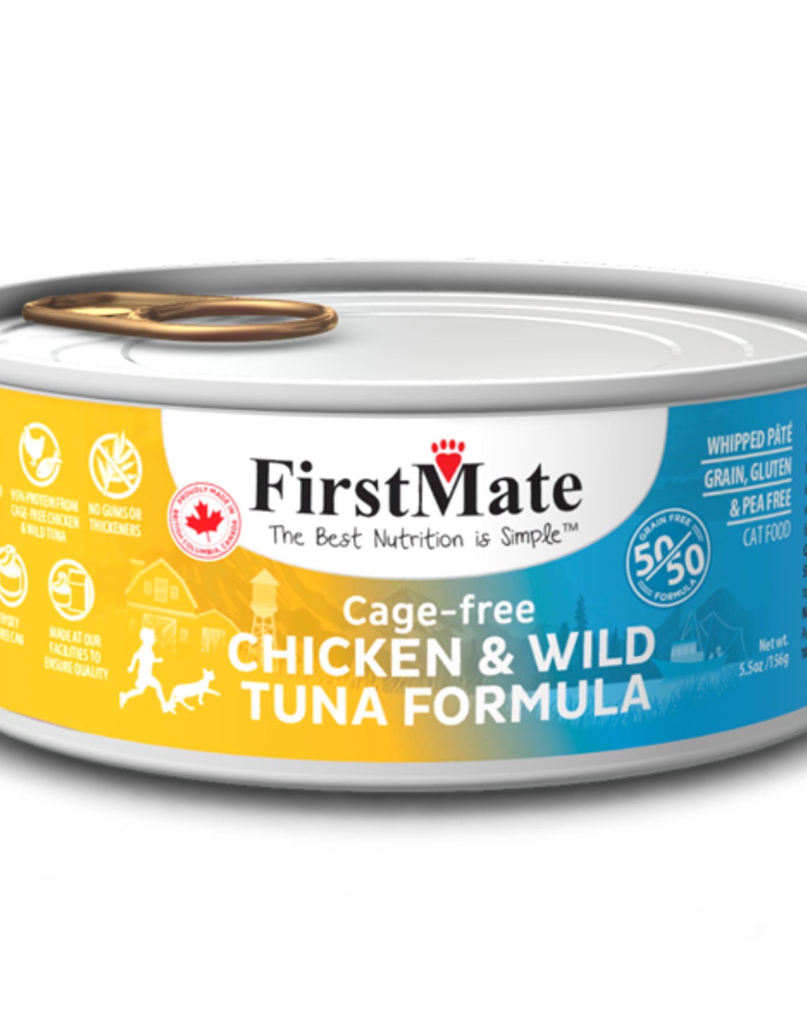 First Mate FirstMate Cat GF 50/50 Cage Free Chicken/Wild Tuna 5.5 oz