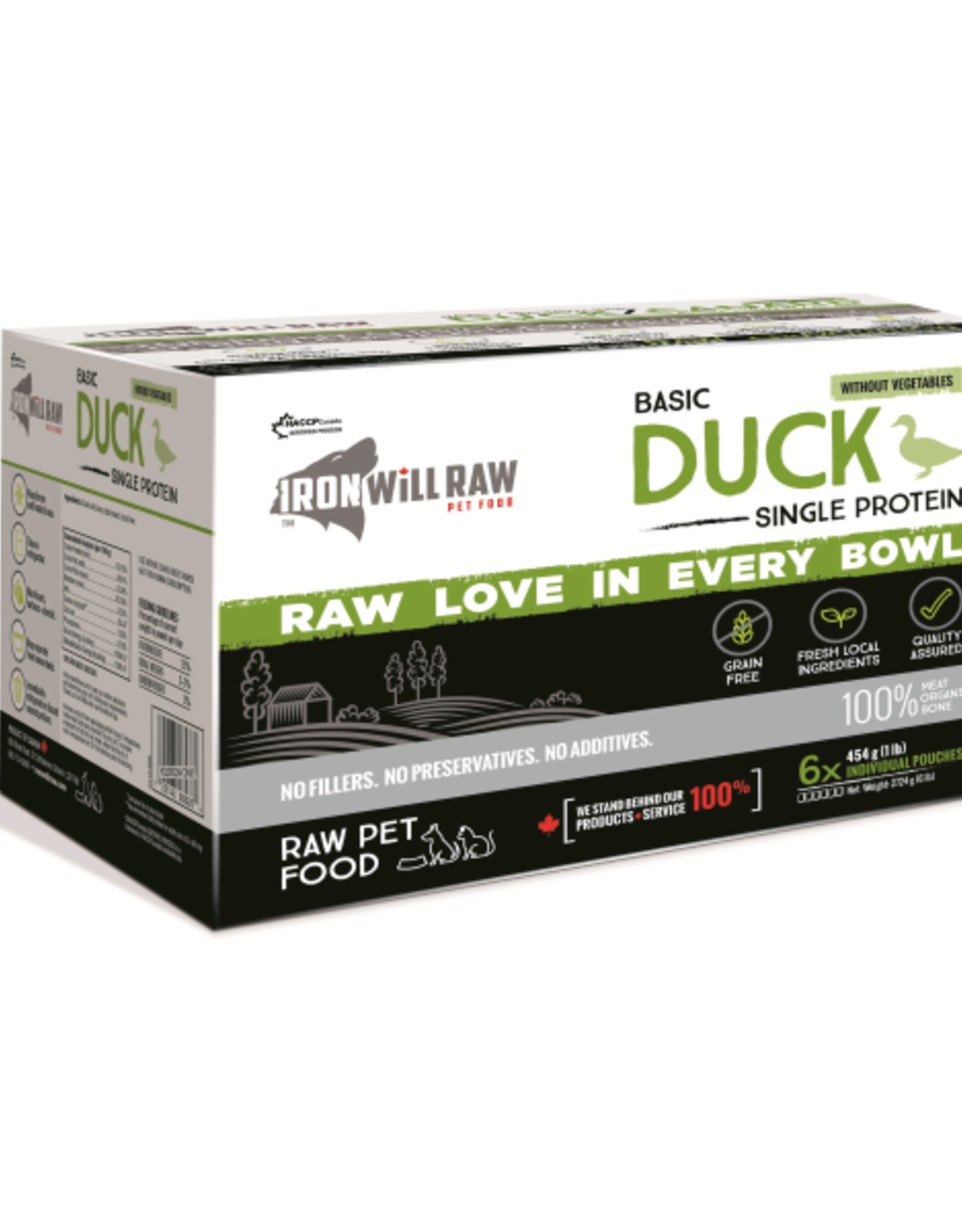 IRON WILL RAW Iron Will Raw Dog GF Basic Duck Single Protein 6/1 lb