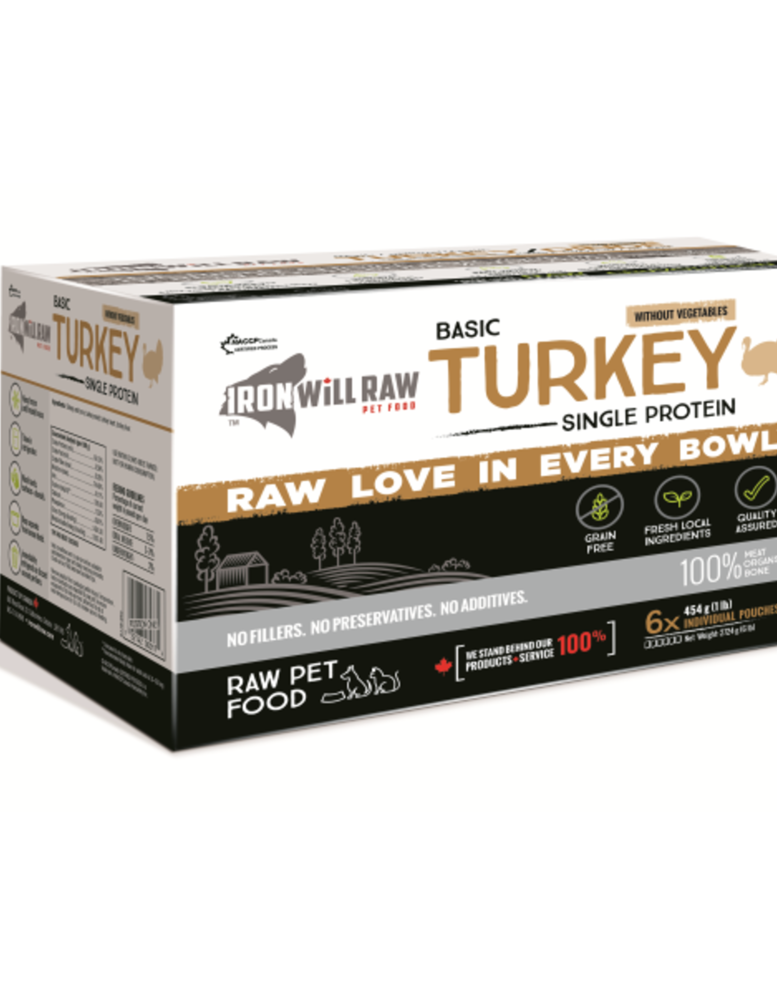 IRON WILL RAW Iron Will Raw Dog GF Basic Turkey Single Protein 6/1 lb