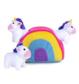 Zippy Paw ZippyPaws Burrow Squeaker Toy Unicorns in Rainbow